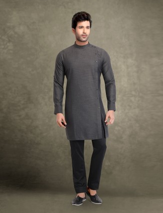 Festive wear dark grey kurta suit