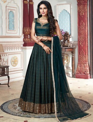 Festive wear green color cotton lehenga choli