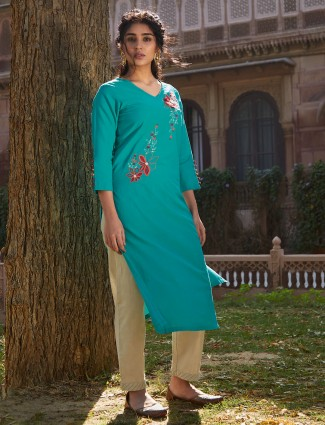 Festive wear green cotton punjabi pant suit