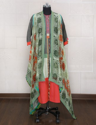 Festive wear Grey cotton silk palazzo suit