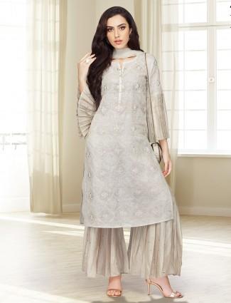 Festive wear grey hue punjabi palazzo suit