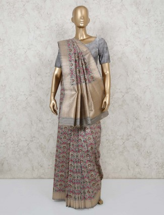 Festive wear grey semi banarasi silk saree