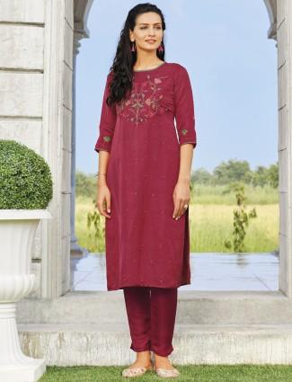 Festive wear magenta cotton kurti