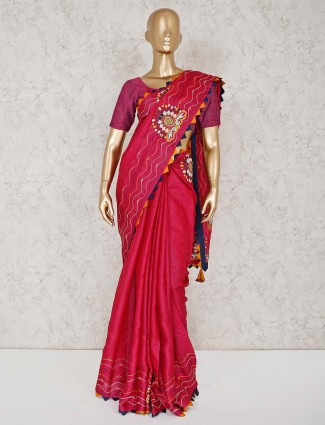 Festive wear magenta cotton saree