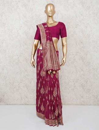 Festive wear maroon saree in dola silk