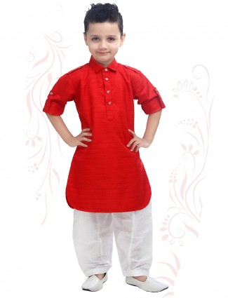 Festive wear pathani suit in red color