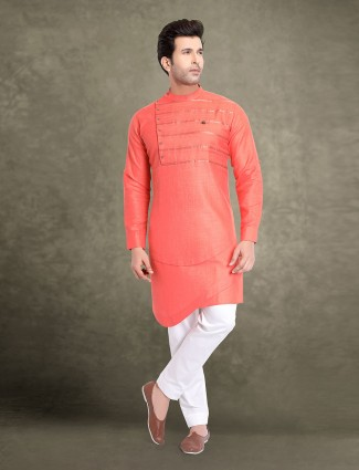 Festive wear peach cotton kurta suit