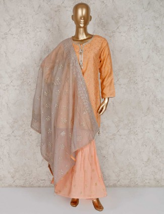 Festive wear peach cotton silk punjabi sharara suit