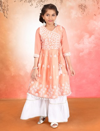 Festive wear peach girls palazzo set