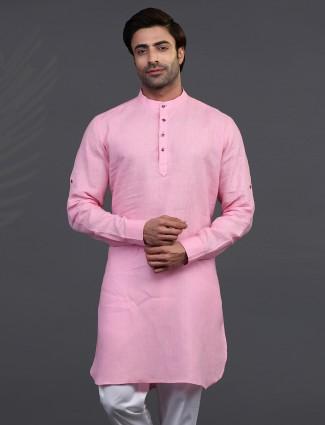 Festive wear pink stand collar only kurta