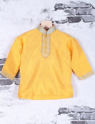 Festive wear plain yellow kurta suit