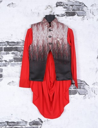 Festive wear red and brown waistcoat set