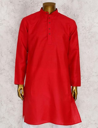 Festive wear red cotton kurta suit