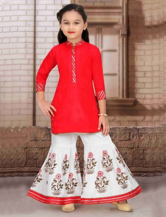 Festive wear red solid cotton punjabi sharara suit