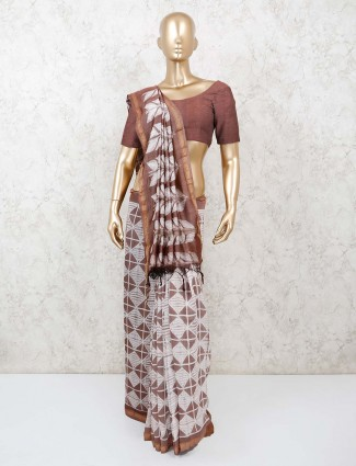 Traditional wear jaipuri shibori printed brown cotton saree
