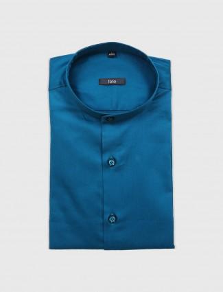 Fete blue cotton slim fit shirt