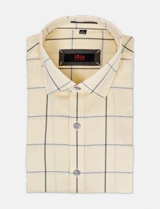 Fete light yellow checks cotton shirt