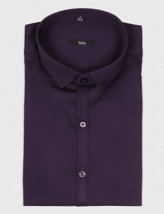 Fete purple cotton party shirt