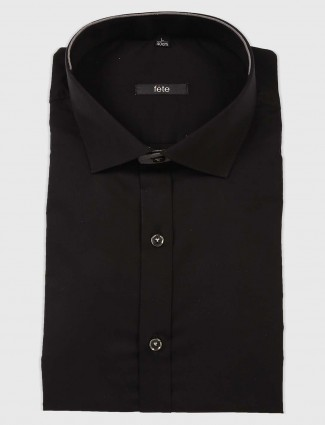 Fete solid black hue cotton fabric shirt