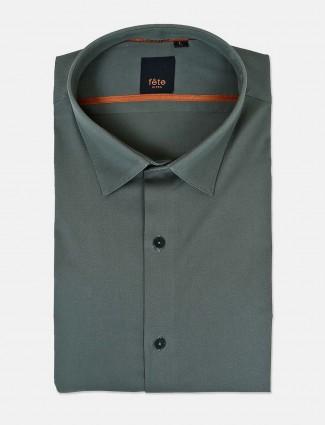Fete solid dark green cotton shirt