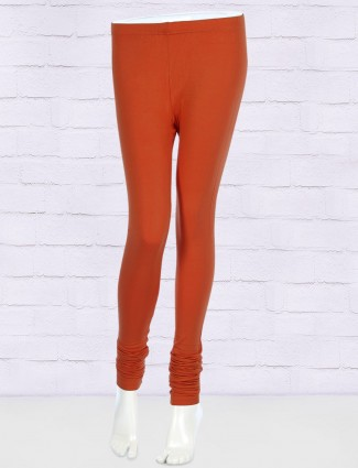 FFU red colored solid pattern leggings