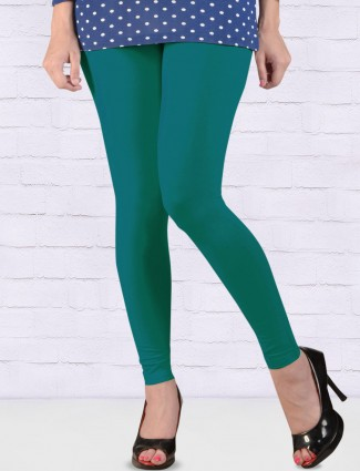 Go Colors stretchable rama green color ankal length leggings