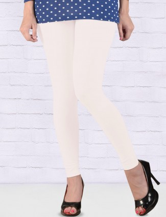 FFU white color solid ankal length leggings