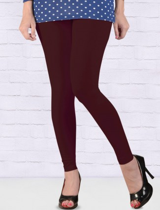 FFU wine hue cotton ankal length leggings