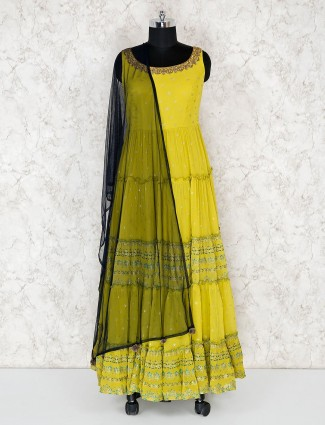 Floor length citrus green anarkali salwar suit in georgette