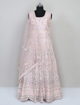 Floor length pink net gown for wedding special