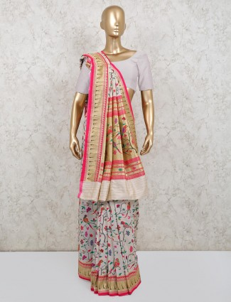 Flora and fauna concept banarasi silk saree in white