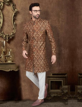 Floral print raw silk indo western for party