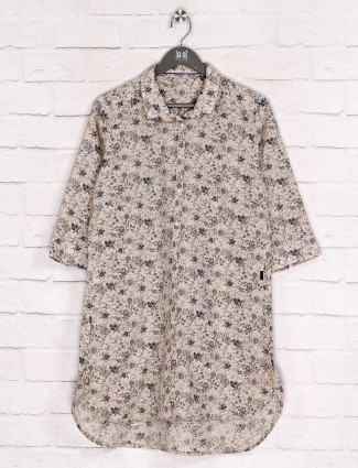 Floral printed beige cotton casual long shirt
