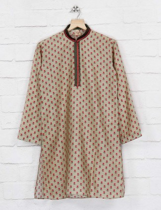 Flower printed cotton beige color kurta suit