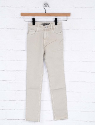 Forway beige denim fabric slim fit jeans