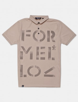 Freeze beige printed cotton slim fit polo t-shirt