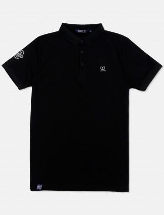 Freeze black solid cotton t-shirt
