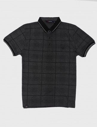Freeze dark grey checks pattern t-shirt