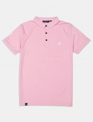 Freeze light pink polo solid t-shirt