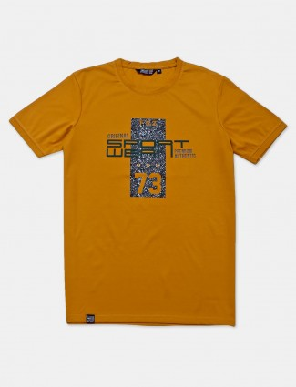Freeze mustard yellow printed cotton casual t-shirt