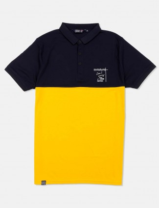 Freeze navy and yellow solid t-shirt