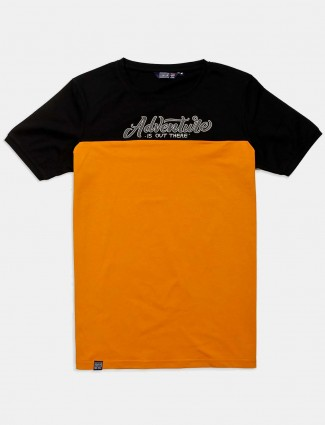Freeze orange printed cotton t-shirt