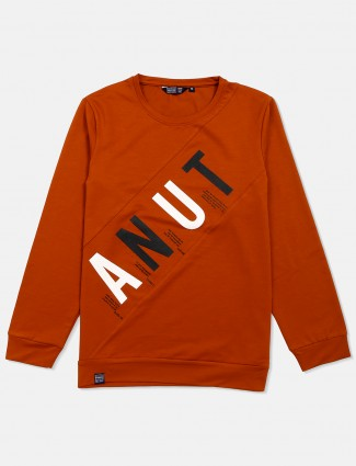 Freeze presented rust orange printed t-shirt