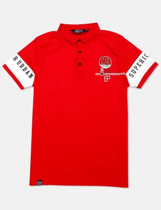 Freeze red casual wear solid t-shirt