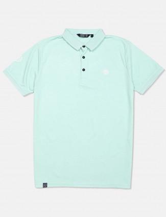 Freeze sea green solid half sleeves t-shirt