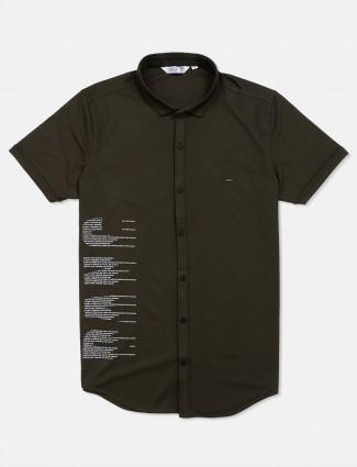 Freeze slim fit olive printed shirt