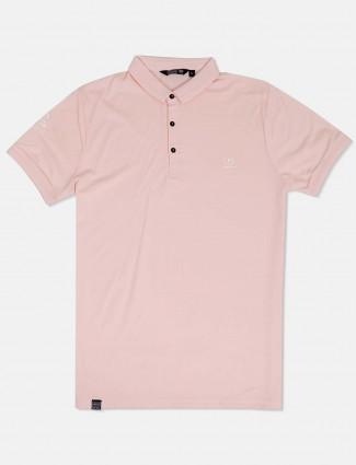 Freeze slim fit peach solid t-shirt