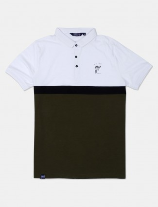 Freeze slim fit white and olive solid t-shirt