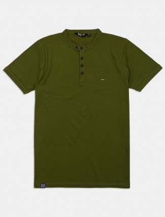 Freeze solid dark green mens t-shirt