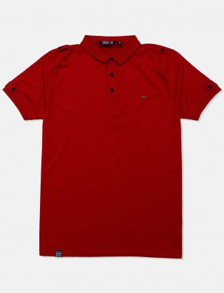 Freeze solid maroon mens casual wear t-shirt